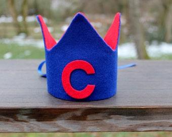 Boy's birthday crown, 1st birthday crown, boy first birthday hat, blue and red crown, monogrammed crown