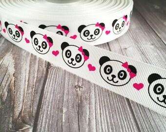 "Panda ribbon - Panda bear grosgrain - Animal ribbon - 7/8"" Grosgrain ribbon - Panda bear bow - Panda bear heart - Craft ribbon - DIY hairbow"