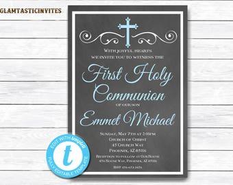 First Communion Invitation Boy, Boy First Communion Invitation, First Communion Invitation Printable, First Communion Boy, INSTANT DOWNLOAD