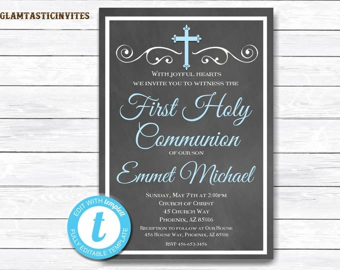 First Communion Invitation Boy, Boy First Communion Invitation, First Communion Invitation Printable, First Communion Boy, INSTANT DOWNLOAD