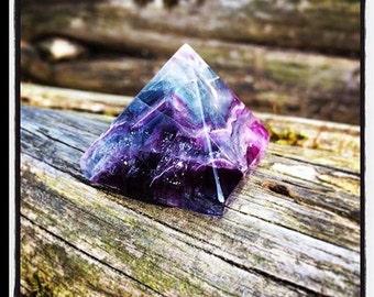 Rainbow Fluorite Crystal Pyramid - Sacred Geometry