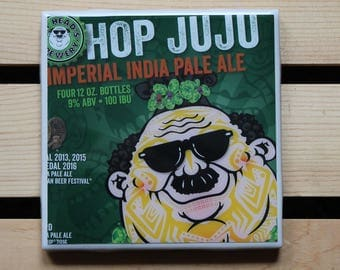 Fat Head's Brewery Hop JuJu Ceramic Craft Beer Coaster from Recycled 6 pack Holders. Beer Coasters. Drink Coasters. Beer Gifts.