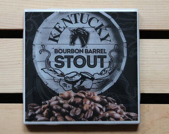 Kentucky Bourbon Barrel Stout Ceramic Craft Beer Coaster from Recycled 6 pack Holders. Beer Coasters. Drink Coasters. Beer Gifts. Stout.