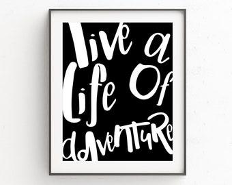 Printables, Adventure Awaits, Wanderlust, Posters, Adventure Art Gift, Gift Under 30, Boho Decor Bedroom, Gift For Bestfriend, Bohemian