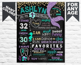 First Birthday Mermaid chalkboard sign - 1st birthday chalk board poster under the sea for a girl (308)