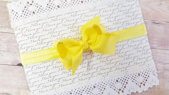 Yellow Headband Bow, Mini Baby Bow, Baby Bow Headband, Bows For Newborns, Infant Headbands And Bows, Head Bows For Baby Girls, Yellow Bows