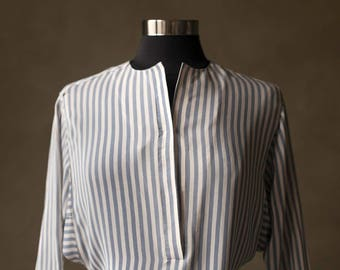 B.Altman Striped Silk Shirtdress
