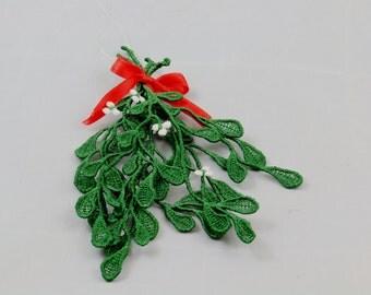 Christmas Mistletoe, Embroidered Freestanding Lace Mistletoe, Reusable Mistletoe,  Christmas Romance