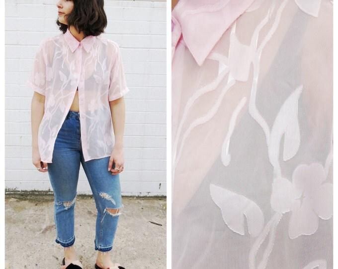 Sheer Pink Oversized Button Down Blouse