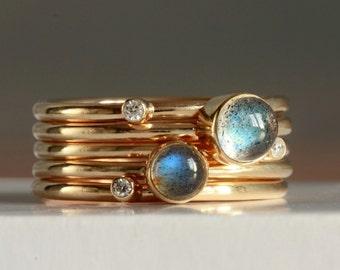 Solid 9ct gold Labradorite and Diamond Stacking Rings-gold diamond ring-labradorite gold ring-universe blue labradorite ring-British gold