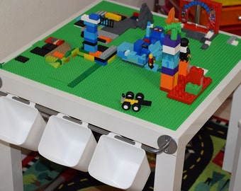 Kids Classic LEGO Table With Storage, Hanging Buckets. Mess Free Play!