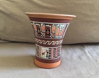 Vintage Cusco Peru Painted Pottery Vase
