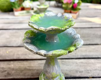miniature bird bath, fairy garden fountain, miniature tiered fountain