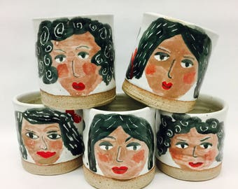 handpainted / face / girl / tumbler / stoneware