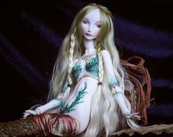 Porcelain bjd mermaid Wellgunde Jewellery doll Ooak mermaid Ooak bjd doll Fantasy bjds mermaid Fine art mermaid Sea mermaid Mermaid doll