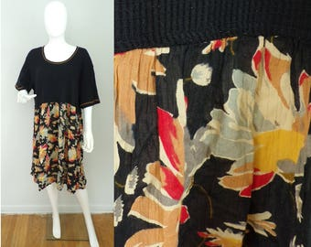 Vintage Simply Fashion black floral dress plus size 22, boho dress, flowered dress, floral dress, summer dress, short sleeve dress, casual