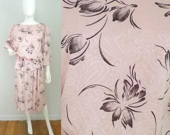 Vintage 80s pink & black floral dress size large, paisley dress, peplum dress, long sleeve dress, light pink dress, midi dress, flowered