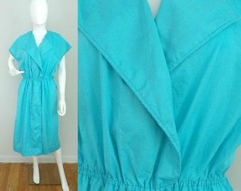 Vintage 80s Blue Wrap Dress Size Large, Bright Blue Dress, Wrap Dress, Cotton Dress, Hand Made Dress, Wrap Style, Loose Fit Dress, Summer