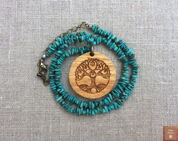 Ancient Tree of Life Carved Pendant—Recycled Oak Wood & Turquoise Gemstone
