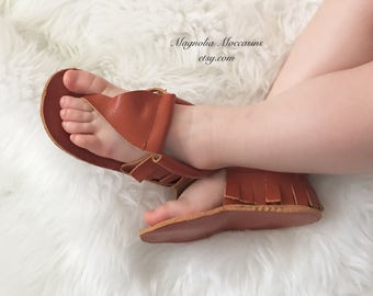Genuine leather sandals, moccasin sandals, baby sandals, thong sandals, brown leather sandals,