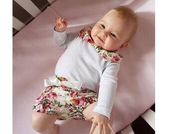 Peonies Floral Bloomer and Collar Set, Giris Spring Shorts, Baby Bloomers, Girls Collar Set, Toddler Bloomers Set, Vintage Design Bloomers