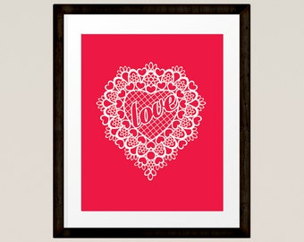 Love Print Bedroom Art, Home Decor, Red Lace Heart, Printable, INSTANT DOWNLOAD