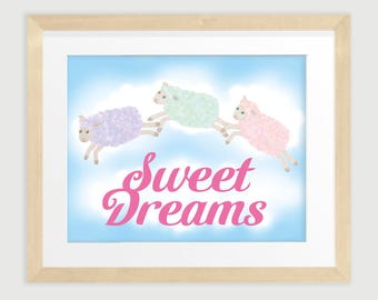 Sweet Dreams leaping pastel coloured lambs and soft clouds, Baby Room Wall Decor, 8 x 10, Printable, INSTANT DOWNLOAD
