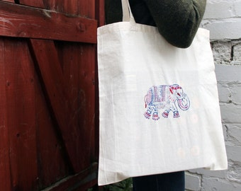 Embroidered elephant tote bag / canvas shopper / canvas bag / shopper bag / elephant bag / elephant gifts / tote bag canvas/ tote bag cotton