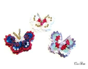 Colorful crochet butterfly appliques, applicazioni uncinetto farfalla