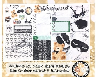 Sunday Morning neutral marble sampler stickers-for Erin Condren Vertical and Horizontal Planners -lingerie glitter watercolor