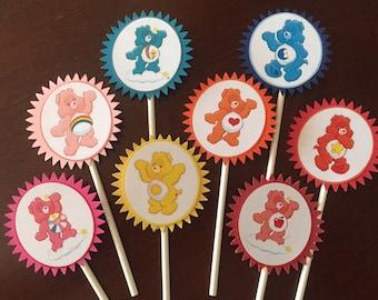 Care Bears Cupcake Toppers (8), Care Bears Birthday Party, Care Bears cake topper, Care Bears birthday, Care Bears