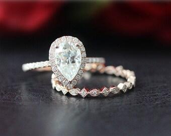 Forever Brilliant Moissanite Ring Set Wedding Ring Set 14K Rose Gold Moissanite Engagement Ring & Diamond Wedding Band/Anniversary Ring Set
