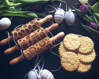 EASTER SET SMALL rolling pin, embossing rolling pin, engraved rolling pin by laser