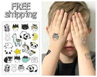 "Temporary tattoos set ""SWEET DOODLES"". Kids body stickers big sheet with lama, panda, ballerine, princess, cat, owl, unicorn etc. TA047"