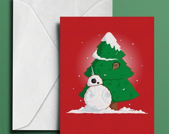 Snowdroid Christmas Card  - Greeting Card - Xmas Card  - Geeky Christmas Card - Sci Fi - Geek - Funny