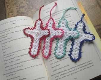cross bookmark, ornament, craft parts, charm, home decor, handmade crochet lace, 4 for 10