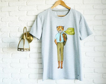 Fantastic Mr Fox T Shirt for Men Gift for Boyfriend Gray Mens T Shirt Funny T shirts Hand painted T shirt Graphic tee