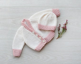 Prem baby cardigan & hat set. Hand knitted in very soft wool with cashmere and silk. Baby reborn outfit. Small newborn cardigan.