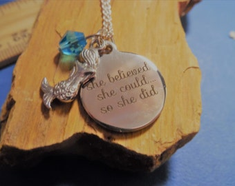 She Believed She Could Mermaid Necklace