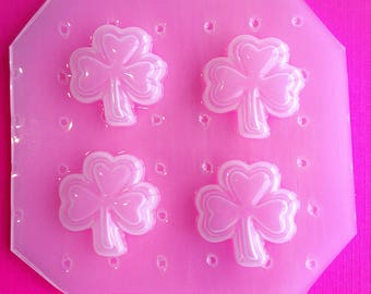 4pc Beveled St Patricks Day Shamrock Clover Flexible Plastic Mold For Resin Crafts Polymer Clay