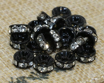 100Pcs Metal Rondelle Spacer beads with Rhinestone Black Plated 6mm 8mm 10mm SKU-G034