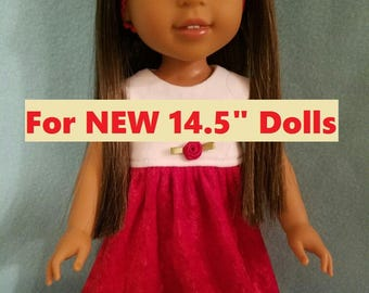 """Dixie-crafted Red Velvet Dress  to fit 14.5"""" Dolls including those from the American Girl Doll Clothes Company"""