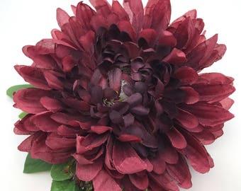 Handmade Burgundy Chrysanthemum Hair flower Clip Miss Bella's Blooms
