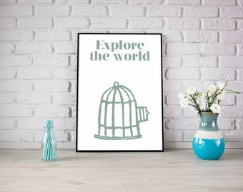 PRINTABLE Explore Travel Motivational Quote Art Print Digital Download Print At Home artwork