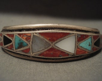 Early 1900's Voin Silver Vintage Zuni Turquoise Coral Silver Bracelet