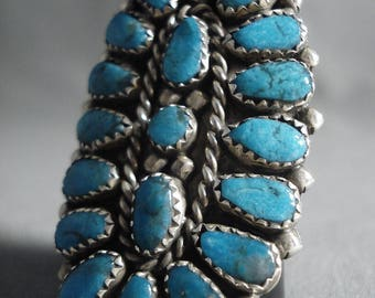 Big Navajo 'Tears Of Joy' Turquoise Silver Ring