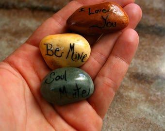 Spiritual Hand Painted Beach Stones, Meditation Pocket Stones, Be Mine, Soul Mate, I Love You, Painted Rock Art, Yoga Worry Stones, Rock Art