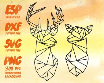 Geometric deer couple Silhouette , SVG Cutting , ESP Vectors files , T shirt , iron on , sticker ,Personal Use