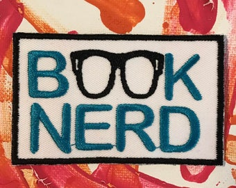 Book nerd patch, nerd patch, book patch, I love books, nerd gift, gift under 10, nerdy gift, got book, gift for him, gift for her, geek gift