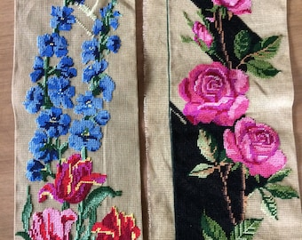 Pair of Unfinished Needlepoint Flower Pictures
